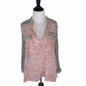 Obey Pop-Over Blouse Top Floral Lightweight